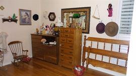 vintage bedroom. Full-queen cherry headboard footboard. Lingerie chest. child's rocker. Dresser with secretary. Vintage toys