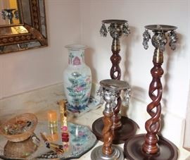 Home Decor for every room.  Candles, candlesticks, urns, vases, porcelain boxes, china