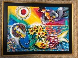 Zamy Steynovitz original oil painting. One of a kind painted by this famous polish/Israeli artist