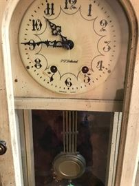 PF Bollenback grandfathers clock in excellent condition ! Works with key!