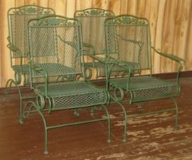 4 - Metal Patio Chairs (Has Matching Table & Umbrella Not Shown)