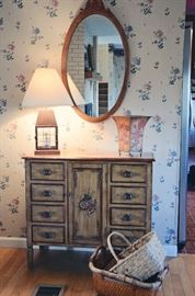 Lantern-style Lamps, Baskets, Painted Entry Table, Antique Wood Framed Mirror