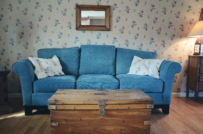 La-Z-Boy Sofa, Antique Wooden Trunk, Antique Wooden Mirror