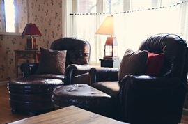 Lantern-Style Lamp, Leather Armchairs with Half Moon Ottomans