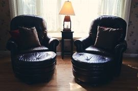 Leather Armchairs with Half Moon Ottomans