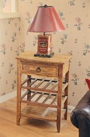 Wine Rack End Table, Decorative Lamp
