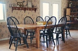 Broyhill Attic Heirlooms Rustic Oak Collection - Harvest Table with 10 Black Windsor Chairs (includes 2 Captain's Chairs), Pottery Barn Wooden Tray, Willow Tree Angel Collection, Hand Stitched Artwork