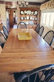 "Broyhill Attic Heirlooms Rustic Oak Collection -  Harvest Table with 10 Black Windsor Chairs (includes 2 Captain's Chairs), Pottery Barn Wooden Tray, China Cabinet, Noritake ""N149"" China Set for 12"