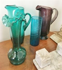 Vintage and antique blown glass.