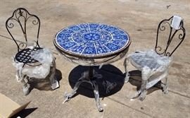 New in the box patio furniture with tile mosaic top table