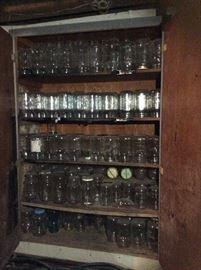 Jelly cabinet with mason jars