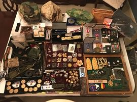 Military Insignia, Bars, Pins, US Army, maple leaf pins, Merit Ribbons, buttons, belts, etc.