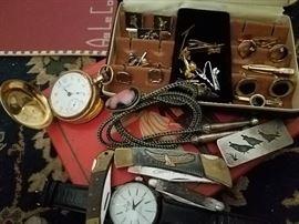 Pocket watch, poket knives  cufflinks, great silver bolo tie  silvet money clip