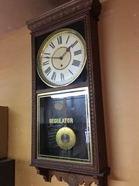 A Sessions Regulator wall clock that came out of the 1st National Texas Bank of Luling Texas. A wind-up with two keys.