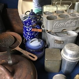 enamelware, advertising, coca cola carrier, cast iron