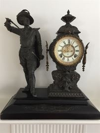 Bronze Ansonia Mantle Clock Porcelain Face w/ Bronze Musketeer Attached on an Onyx Base (18'' x 8'' x 21'')