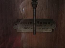 Guman Art Deco Mahogany Wall Clock w/ Beveled Glass c. 1900 George Reese, Uhren U. Goldwaren Lubeck (13'' x 7'' x 18'')
