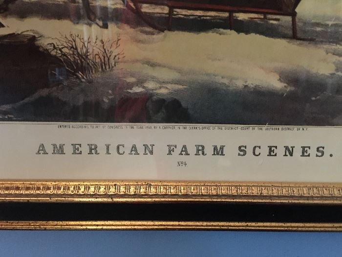 """N. Currier Lithograph, """"American Farm Scenes"""", Dated 1853 (29'' x 23'')"""