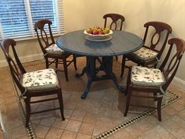 Blue Country French 48'' Round Kitchen Table w/ Birdcage Base w/ 2 Leaves                                                          6 Walnut Dining Chairs w/ Rush Cushion Seats and Custom Cushions