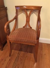 6 Maple Dining Chairs w/ Brown Velvet Seat (2 Arm and 4 Side Chairs)