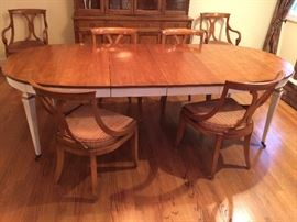 Oval Dining Table w/ 2 Leaves                                                       6 Maple Dining Chairs w/ Brown Velvet Seat (2 Arm and 4 Side Chairs)