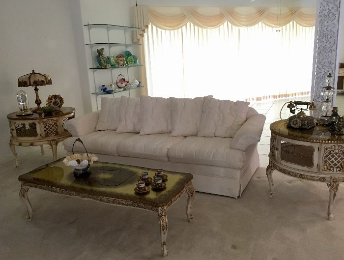 Tufted Cream Sofa and French Tables.