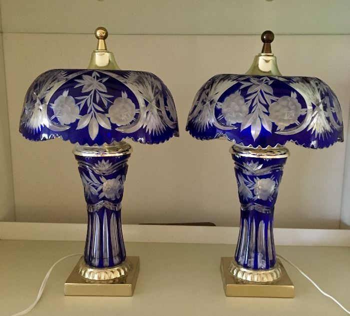 Cobalt Cut to Clear Lamps signed Dresden by Peck