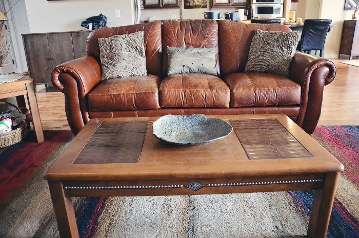 Leather sofa, coffee table