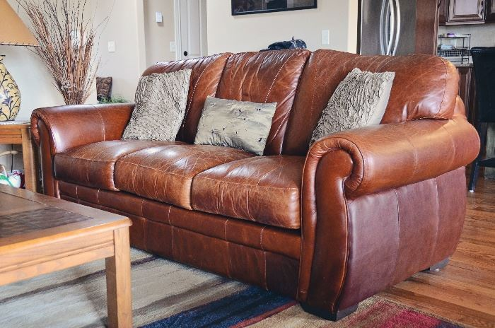 Leather sofa and coffee table (rug not included)