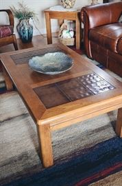 Coffee table with tiles, raku bowl,ceramic vase (rug not included in sale)