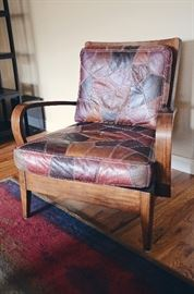 Patchwork leather danish style armchair (rug not included in sale)