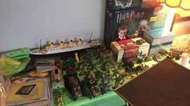 Lionel train Harry Potter Mark 5 inch plastic soldiers  Non working remote control Titanic  Tons of war time sheet music