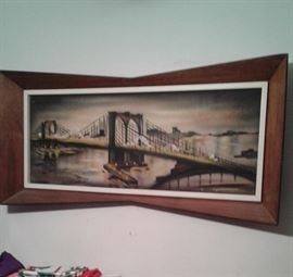 Mid cent painting of the Brooklyn Bridge