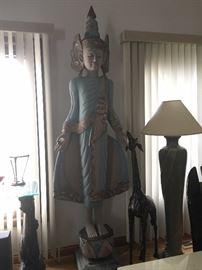 Tibetan 7 ft meditating goddess statue! (wood carved)