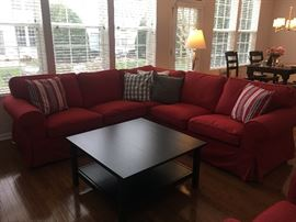This great Ektorp sectional from Ikea is in excellent condition!  Don't like the red?  We have the covers to transform the entire set to grey!
