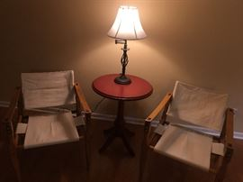 We just loved these chairs!  The combination of wood, leather and canvas is a great combination!