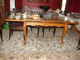 Country French dining table with sliding ends