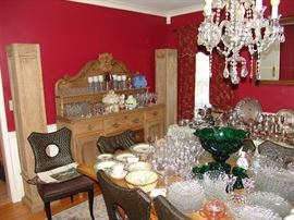 Dining room with Country French sideboard, much American Fosteria stemware and glass wares, green glass punch bowl and cups