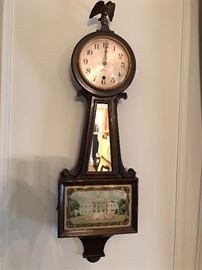 Sessions Banjo Wall Clock with Reverse Painted White House