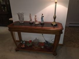 Wood with glass inlay Sofa Table