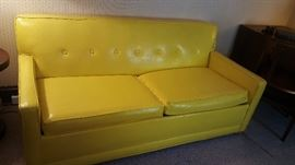 """They call it """"mellow yellow""""  .... but """"mellow"""" it isn't!!   Awesome, fun piece!   And it's a hide-a-bed, too!"""