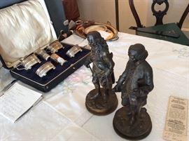 Bronzes of Voltaire & Rousseau.  Sterling/cobalt salt set