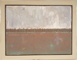 "Eddie Friedman, (1948-2011) ""Untitled"", 1989        Denver Artist Eddie Friedman was well-known in the western region of the U.S. This work measures 42 x 54"" framed and initialed ""E. F. '89"", in silver metal frame with linen matte, oil on board."