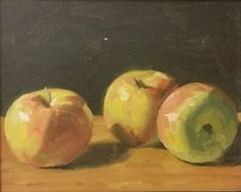 "Mark Daniel Nelson, (1974- ) ""Apple Study 2""            One of Mark Daniel Nelson's early studies of apples. Oil on board. 8 x 10"" and framed, signed lower right."