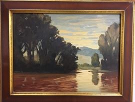 "Mark Daniel Nelson (1974- )""Landscape"" c.1999      The artists choice of palette fully represent a landscape in early morning or late afternoon light. Oil on board. 18 x 24"" (23 3/4 x 29 3/4 framed), signed lower right. From the Judith Pietlock Collection"