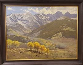 "Jay Moore, (1964- ) ""Dusting on Sawatch Range"", 2005                                                                            ""Dusting On the Sawatch Range"" is a marvelous depiction of late autumn in the Colorado Rockies, specifically south of Vail Mountain. The oil on canvas measures 30 x 40"", signed lower right, and verso. Longitude & Latitude are identified verso. From the PJ Griswold Collection"