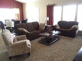Sofa love seat and accent chair