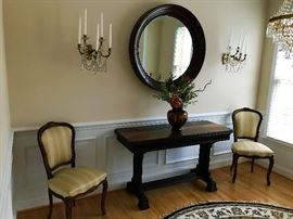 French Chairs - Expandable Table, Mahogany Mirror, Crystal Sconces