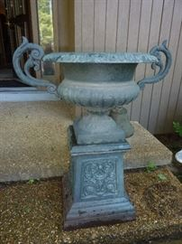 1 of a pair cast metal urns with pedastal