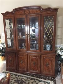 China cabinet burl wood veneer